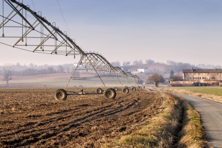 Close up of irrigation system over a field Stock Photo - 17123048