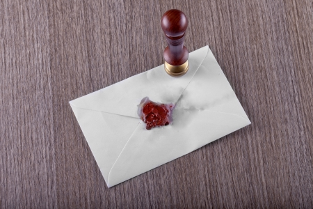 White envelope for a letter, with sealing wax stamp Stock Photo - 17123157