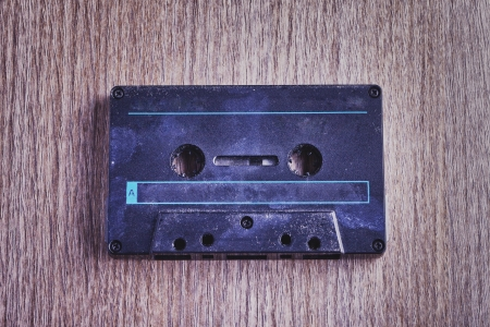 Close up of black old and rugged audio tape Stock Photo - 17292079