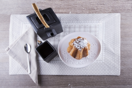Tea set seen from above with dessert  Stock Photo - 17415725