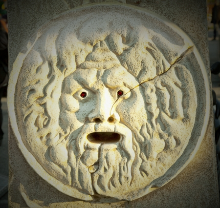 Bocca della verità, truth mouth, reproduction of the orignal monument