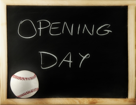 season opening: Blackboard with a baseball and the words opening day