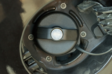 Close up of black tank cap of a car photo