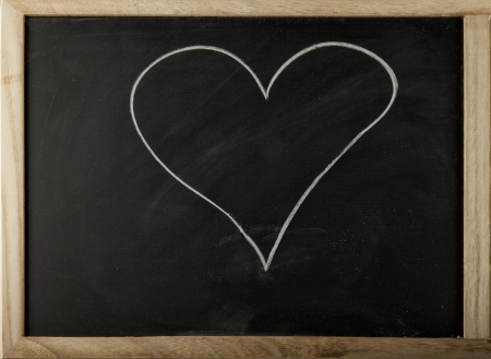 A blackboard with a hand drawn heart photo