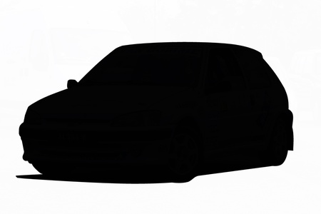 Black silhouette of a small car isolated over white background photo