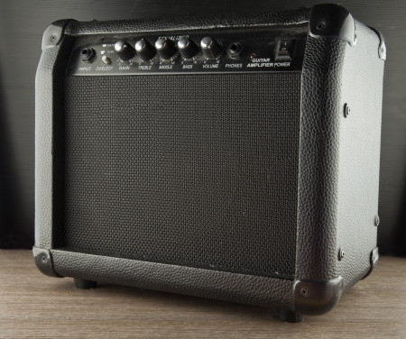 Close up of black amp for guitar photo
