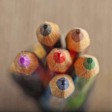 A little bunch of pencils seen from above Stock Photo - 19877431