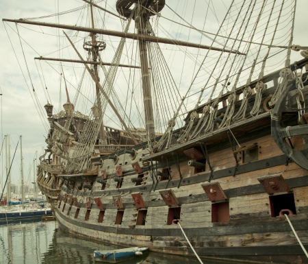 Side of the reconstruction of an old galeon Stock Photo