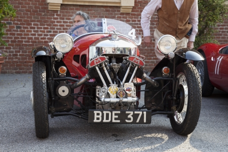 CASALE MONFERRATO, ITALY - JUNE 7: Morgan car before the start of race of historical cars Memorial Bordino, 2013 June 7, Casale Monferrato, Italy