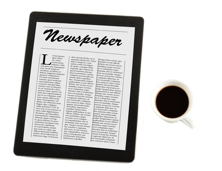 fake newspaper: View from above of a cup of coffee and a tablet with (fake) newspaper on the cover, isolated over white
