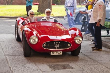 weber: CASALE MONFERRATO, ITALY - JUNE 8: 1954 Maserati A6 CGS driven by WEBER Juerg WEBER Lynne before the start of race Memorial Bordino, 2013 June 8, Casale Monferrato, Italy  Editorial