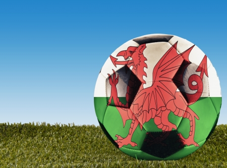 welsh flag: A football over grass decorated with Welsh flag Stock Photo