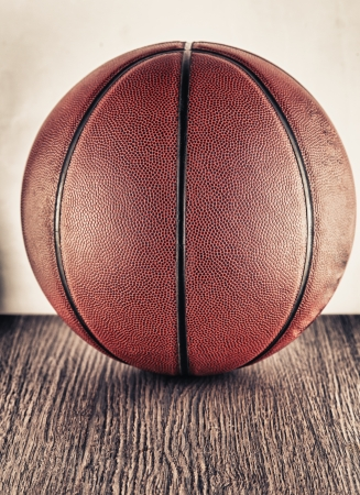 Close up of an old leather basketball photo