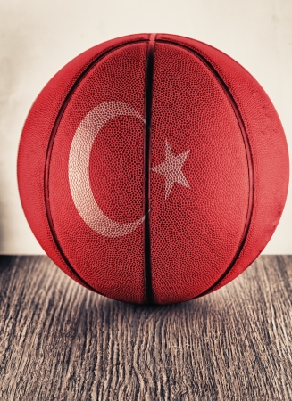 Close up of an old leather basketball with Turkey flag photo