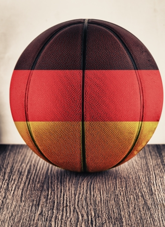 Close up of an old leather basketball with Germany flag photo