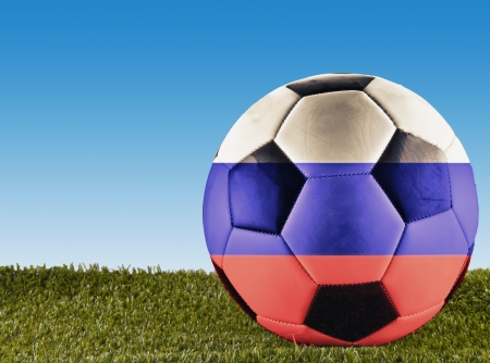 argentinian flag: A football over grass decorated with Argentinian flag Stock Photo