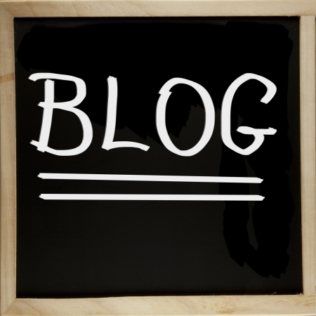 Blackboard with wooden borders with word  Blog  photo