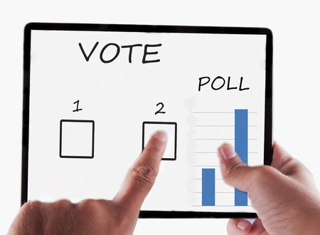 Tablet for vote, in male hands isolated over white background