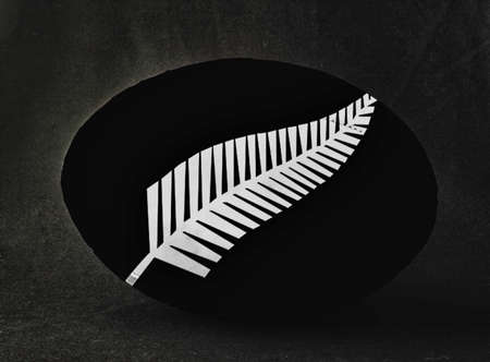 foot gear: Rugby ball with New Zealand uniform colors, with silver fern, over black background Stock Photo
