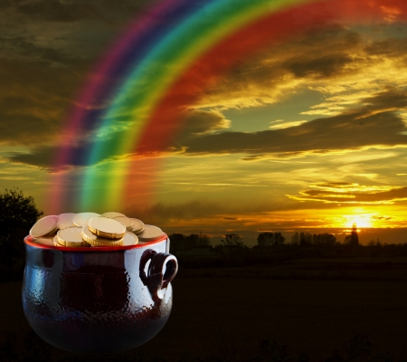 end of rainbow: Pot of gold at the end of the rainbow