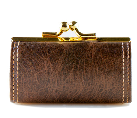 Brown leather purse isolated over white background