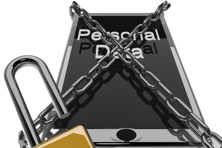 Smartphone in chains with words Personal data on screen, isolated over white (3d render) photo