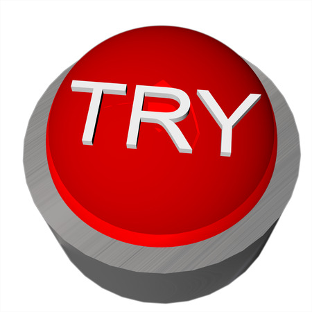 try: 3D render of a red button with word Try