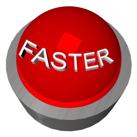 response time: 3D render of red button with word Faster Stock Photo