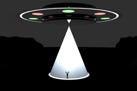 Big UFO kidnapping a man with big white light Stock Photo - 23459607