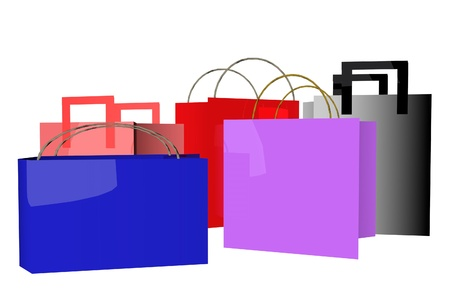 Shopping bags of different colors, 3d render photo
