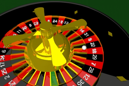 Roulette in close up over green background, 3D render photo