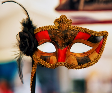 venician: Carnival artisanal mask with black rose on the side