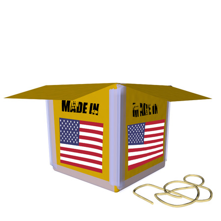 Open cardboard box, 3D render with USA flag photo