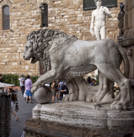 Florence Lion in piazza della Signoria, with David on the back photo