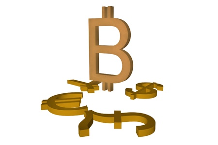 triumphant: Triumphant bitcoin symbol, over euro, dollar, pound and yen