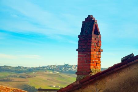 shaftesbury: Bricks chimney with beautiful landscape on the back Stock Photo