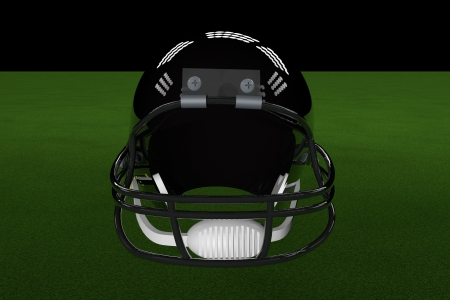 padding: Black football helmet in the middle of field, with stadium lights