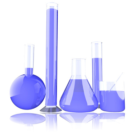 Chemical lab glass elements over white, 3d render photo