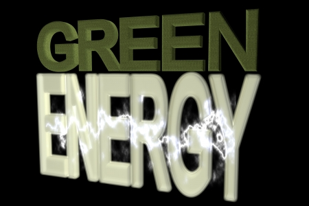 Green energy text over black background, 3d render photo