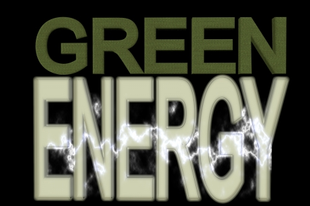 Green energy text over black background, 3d render