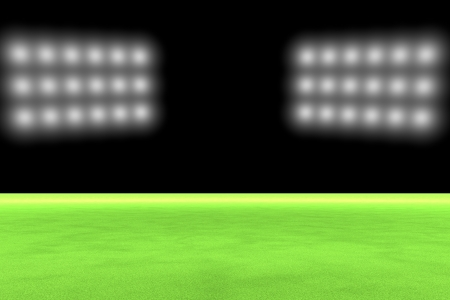 Empty green field with big arena lights, 3d render