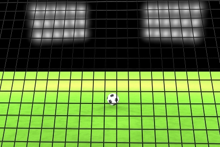 Soccer net in front of ball and field, 3d render