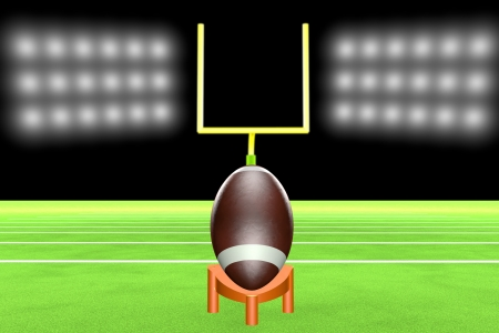 yardline: Football over support, ready for kickoff, with field and poles on the back, 3d render
