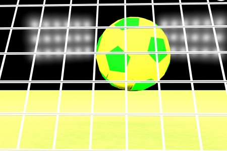 Green and yellow soccer ball in net, 3d render