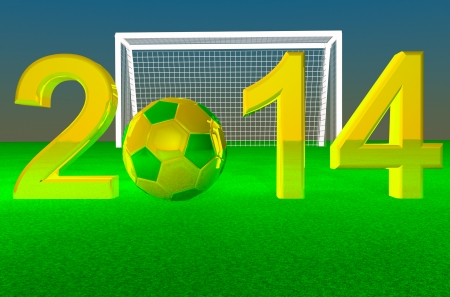 2014 with football yellow and green, soccer goal on the back, 3d render photo