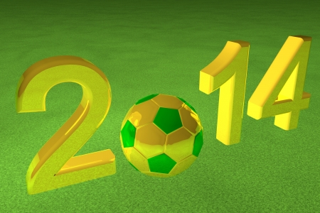 2014 with football in yellow and green photo