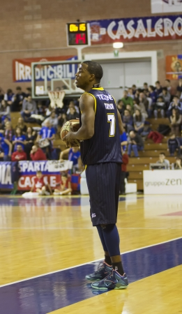 CASALE MONFERRATO, ITALY, JANUARY 19 - Ronell Taylor of Tezenis Verona with the ball in the basketball game for DNA Gold League between Novipiu Casale and Tezenis Verona. Casale won 73-64 Editorial