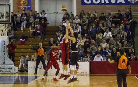 CASALE MONFERRATO, ITALY, JANUARY 19 Matteo Da Ros of Tezenis Verona shoots in the basketball game for DNA Gold League between Novipiu Casale and Tezenis Verona. Casale won 73-64