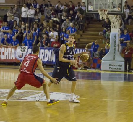 CASALE MONFERRATO, ITALY, JANUARY 19 - Davide Reati of Tezenis Verona brings the ball in basketball game for DNA Gold League between Novipiu Casale and Tezenis Verona. Casale won 73-64 Editorial