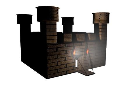 barracks: Castle isolated over white , 3d render